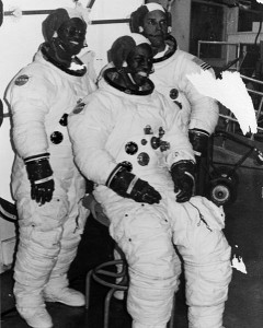 Astronaut candidates Ron McNair, Guion Bluford, and Frederick Gregory